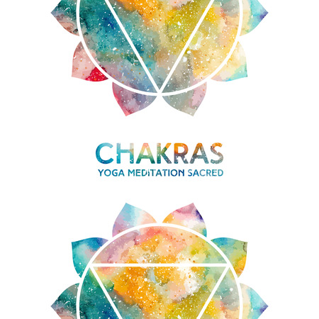 manipura: Vector background. Watercolor manipura chakra on white background, colorful elements, bright texture. Perfect for yoga, spa, meditation practice, ayurveda invitations, greetings