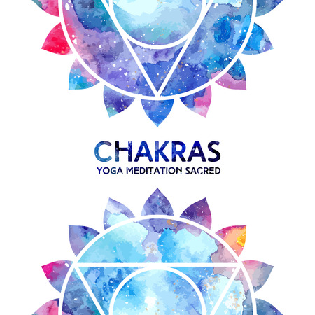 vishuddha: Vector background. Watercolor vishuddha chakra on white background, colorful elements, bright texture. Perfect for yoga, spa, meditation practice, ayurveda invitations, greetings
