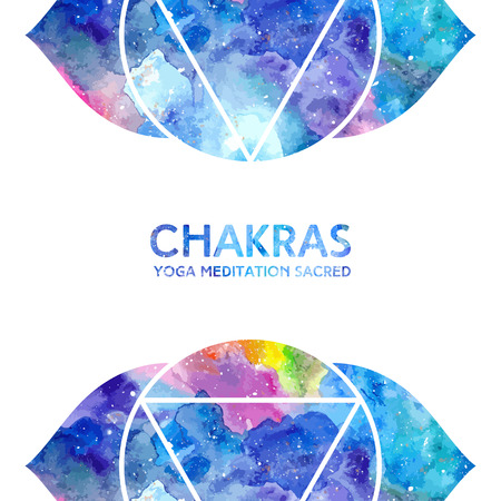 ajna: Vector background. Watercolor ajna chakra on white background, colorful elements, bright texture. Perfect for yoga, spa, meditation practice, ayurveda invitations, greetings Illustration