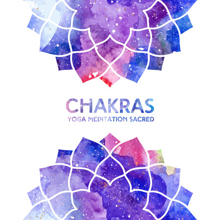 Vector background. Watercolor sahasrara chakra on white background, colorful elements, bright texture. Perfect for yoga, spa, meditation practice, ayurveda invitations, greetings