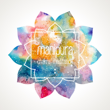 manipura: Chakra Manipura flower icon, ayurvedic symbol and frame for text. Watercolor bright texture. Frame and text edited in vector Illustration