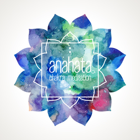 chakra: Chakra Anahata flower icon, ayurvedic symbol and frame for text. Watercolor bright texture. Frame and text edited in vector