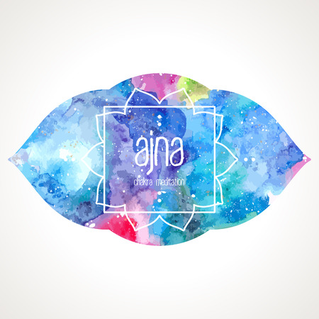 ajna: Chakra Ajna icon, ayurvedic symbol, lotus flower and frame for text. Watercolor bright texture. Text and frame edited in vector
