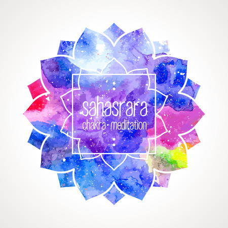 Chakra Sahasrara icon, ayurvedic symbol, lotus flower and frame for text. Watercolor bright texture. Text and frame edited in vector Illusztráció