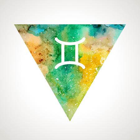 prognosis: Gemini zodiac sign on watercolor triangle background. Astrology symbol