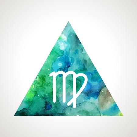 virgo: Virgo signo del zodiaco en el fondo de la acuarela triángulo. símbolo de la astrología