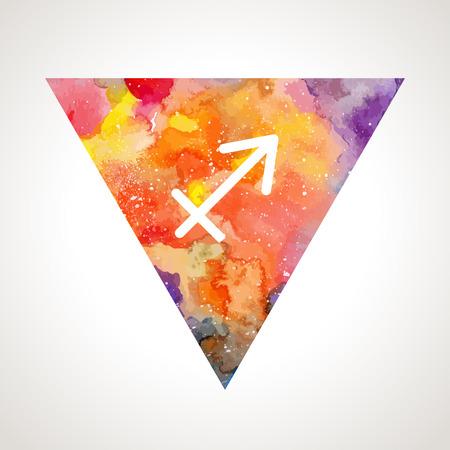 prognosis: Sagittarius zodiac sign on watercolor triangle background. Astrology symbol
