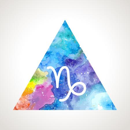 prognosis: Capricorn zodiac sign on watercolor triangle background. Astrology symbol Illustration