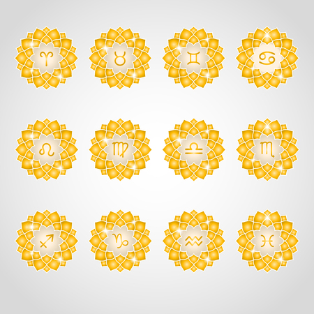 astrological: Zodiac signs icons. Gold decorative elements for design. Astrological symbols, circle golden flower frames