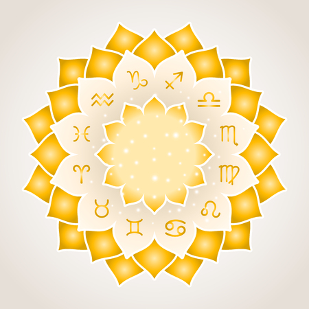 soothsayer: Astrology circle with signs of zodiac. Gold frame with zodiac astrological symbols