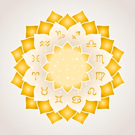 virgo: La astrología círculo con los signos del zodiaco. Marco del oro con símbolos astrológicos del zodiaco