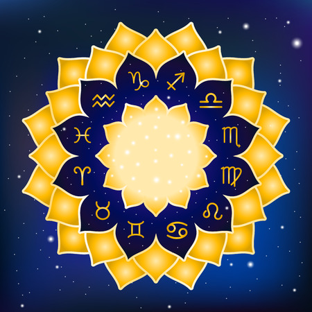 soothsayer: Astrology circle with signs of zodiac. Gold frame with zodiac astrological symbols. Blue sky space cosmic background.