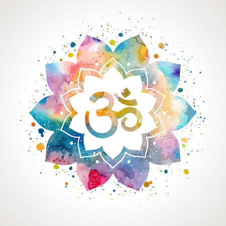 Om は蓮の花にサインインします。レインボー水彩テクスチャとスプラッシュ。分離されたベクトル。精神的な仏教、ヒンドゥー教のシンボル