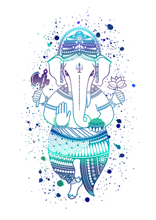 Ganesha, or Ganapati, Indian deity in the Hindu, in blue color isolated on a white background. Paint splash. Vector illustration for design of prints, web, festive, Chaturthi invitations.