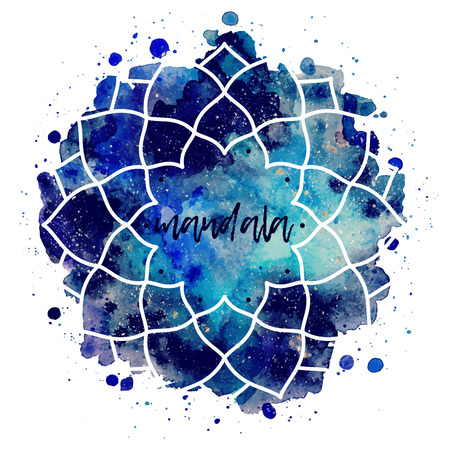 azul turqueza: Geométrico marco de la flor mandala. la textura de la acuarela y salpicaduras. Azul, púrpura, colores turquesa. Textura espacio cósmico. ilustración vectorial editado
