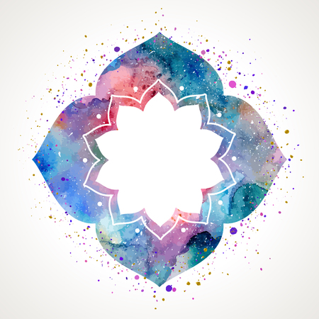 Flower frame in oriental style. Watercolor texture and splash. Colorful blue, purple, pink colors. Vector illustration edited