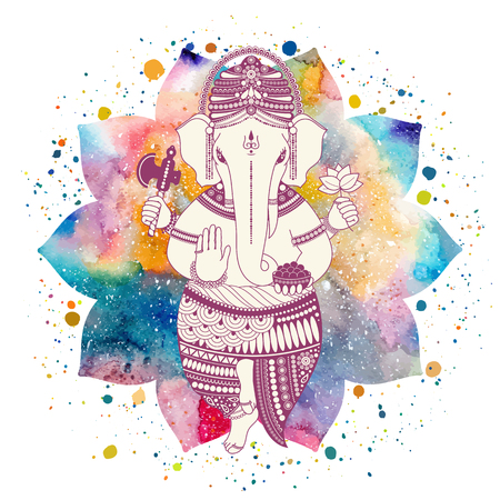 Ganesha, or Ganapati, Indian deity in the Hindu. On watercolor lotus flower with paint splash. Vector illustration for design of prints, web, festive, Chaturthi invitations. Illustration