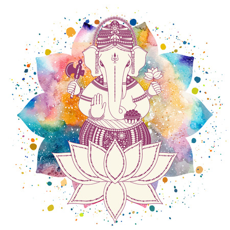 hinduismo: Ganesha o Ganapati, deidad india en el hindú en la flor de loto con salpicaduras de pintura y acuarela mandala. Ilustración del vector para el diseño de estampados, tela, festivo, chaturthi invitaciones.