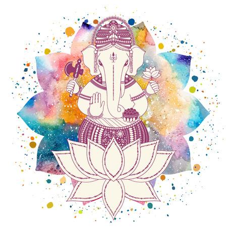 Ganesha, o Ganapati, divinità indiana nel indù in fiore di loto con spruzzi di vernice e acquerello mandala. Illustrazione vettoriale per la progettazione di stampe, il web, di festa, inviti Chaturthi. Vettoriali