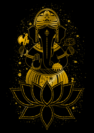 Golden Ganesha, or Ganapati, Indian god in the Hindu in lotus flower. Gold color splash. Vector hand drawn illustration for design of prints, web, festive, Chaturthi invitations.
