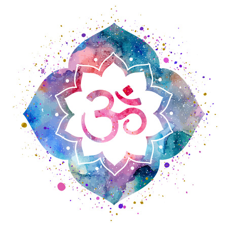 om sign: Om sign in lotus flower. Rainbow watercolor texture and splash. Vector isolated. Spiritual Buddhist, Hindu symbol