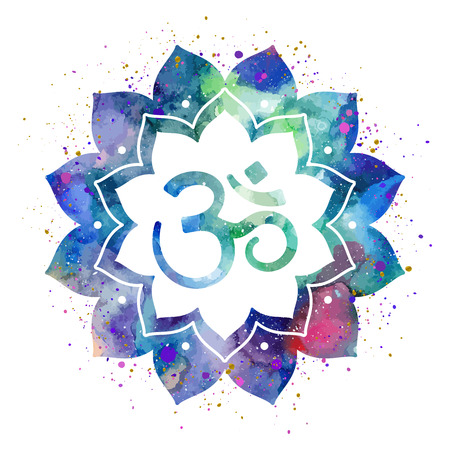 sign in: Om sign in lotus flower. Rainbow watercolor texture and splash. Vector isolated. Spiritual Buddhist, Hindu symbol