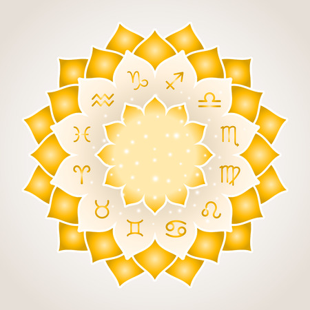 scorpion fish: Astrology circle with signs of zodiac. Gold frame with zodiac astrological symbols. illustration