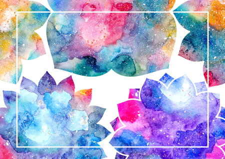 glorious: Watercolor blue, purple, and pink abstract flowers and white frame. Fairytale colorful background Stock Photo
