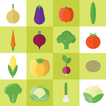 set of food icons with vegetables in flat style for design Stock Photo