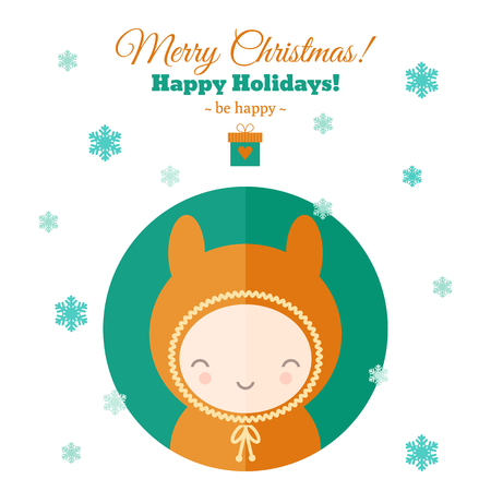 carnival costume: Greeting card for Christmas with funny child in carnival costume. Holiday flat illustration