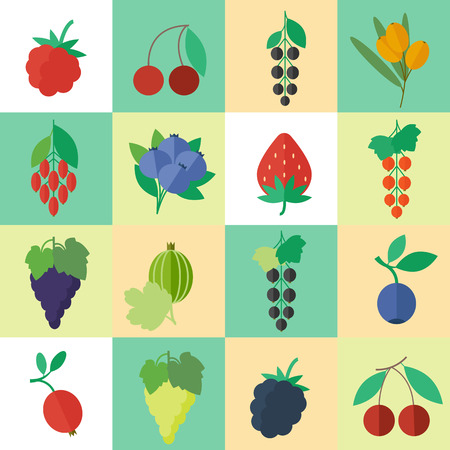 wild strawberry: Berries set of icons for web and apps design in flat style