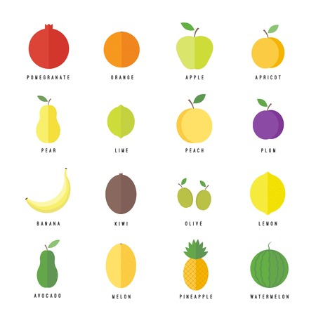 Fruits and berries flat isolated icons set. elements for web and apps design and mobile apps