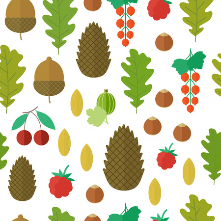 Seamless pattern with forest nuts and berries in flat style. illustration Stock Photo