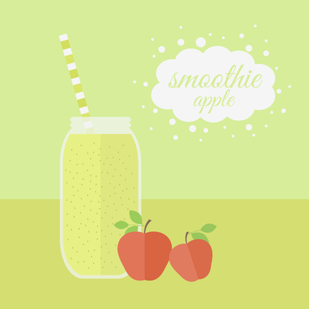 blended: Jar with apple smoothie on a table. illustration