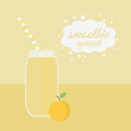 Jar with apricot smoothie on a table. illustration