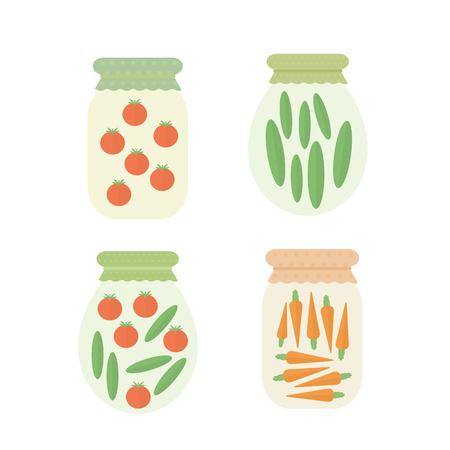 Homemade preserved vegetables in jar. Set of isolated elements for design