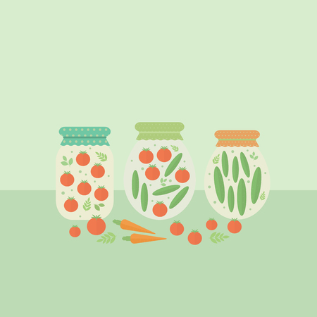preserved: Card with preserved vegetables on a table. illustration