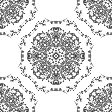 ancient yoga: Seamless background with circle lace patterns. East ornament. pattern