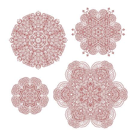 Mehndi henna abstract round patterns. Set of oriental vintage decorative elements for design isolated on white background. Indian mandala. illustration Stock Photo