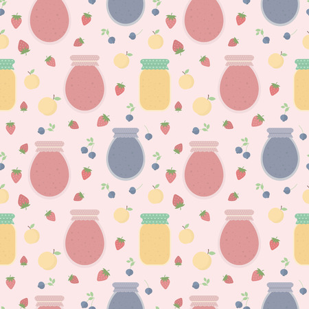 Homemade jam. Seamless pattern with fruits and berries, and jars of jam. background for design of wallpaper, wrapping paper, textile and package design Stock Photo