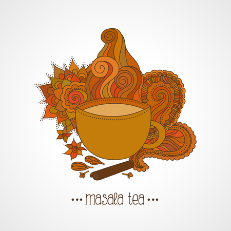 Hand drawn illustration. Cup of Indian masala tea and spices, flavoring, ethnic pattern isolated on white background
