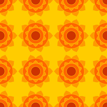 Geometric ethnic background. Abstract indian native seamless pattern in yellow and red Stock Photo