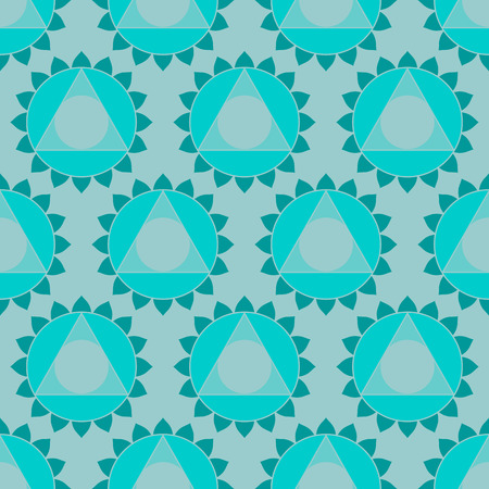 visuddha: Abstract geometric ethnic Indian background, round patterns and triangles. Oriental seamless pattern in , turquoise color
