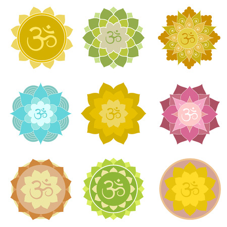 Set of om symbols isolated. Perfect for yoga and meditation practice logo, label, invitations and more. Indian spiritual symbols in abstract lotus flowers Stock Photo