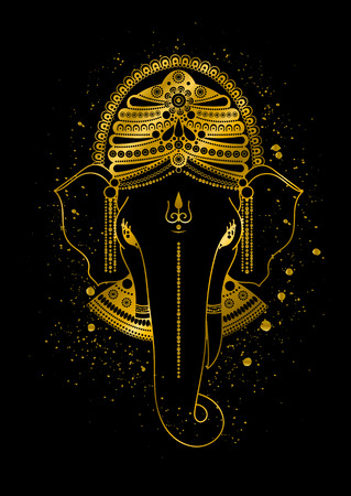 Golden Ganesha, or Ganapati, Indian god in the Hindu. Gold color splash. hand drawn illustration for design of prints, web, festive, Chaturthi invitations.