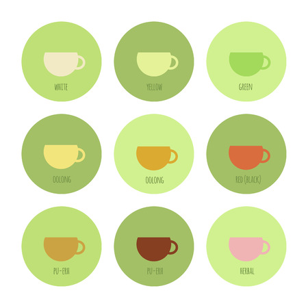 oolong: Set of icons with cups of chinese and herbal tea, isolated elements
