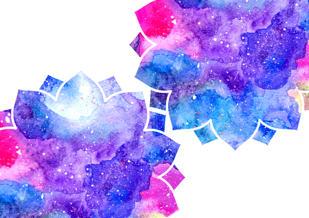 admirable: Watercolor blue, purple, and pink abstract flowers and white frame. Fairytale colorful background Stock Photo