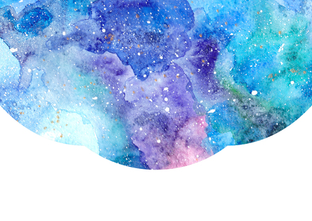 admirable: Watercolor blue abstract background with white frame. Cosmic space background