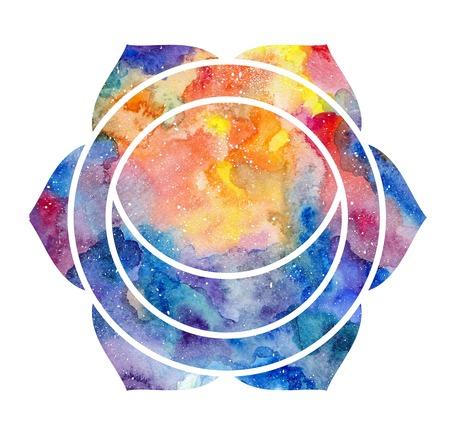 svadhisthana: Chakra Svadhisthana icon, ayurvedic symbol, concept of Hinduism, Buddhism. Watercolor cosmic texture. Isolated on white background