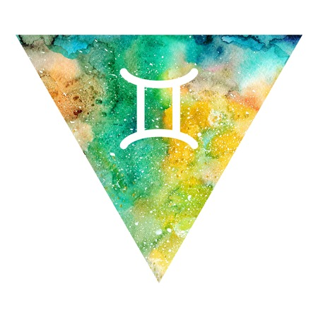 Gemini zodiac sign on watercolor triangle background. Astrology symbol